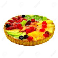 schöne und köstliche frucht kuchen mit erdbeeren ananas äpfel kirschen pflaumen kiwi trauben und pfirsiche