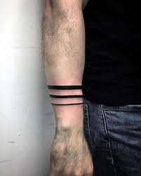 Three Black Bands Guys Forearm Tattoo Designs