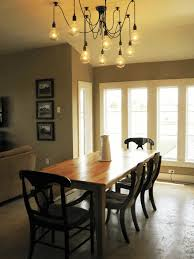 Light Fixtures Dining Room Ideas Modern Glass Set Pine Laminate Table Base White Wall Paint Wooden Frame Window