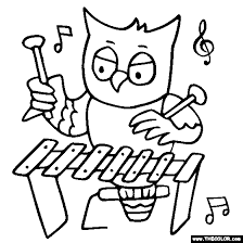 Owl Xylophone Coloring Page