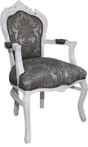 casa padrino barock esszimmer stuhl mit armlehnen grau muster weiß antik möbel