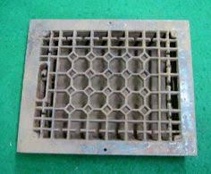 vintage antique cast iron floor register heat grate air vent w