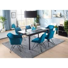 casavanti stuhl carlo stoffbezug samt türkis bild 2 stühle