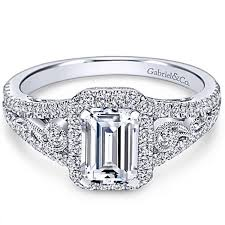 Gabriel Marlena Emerald Cut Halo Diamond Engagement Ring