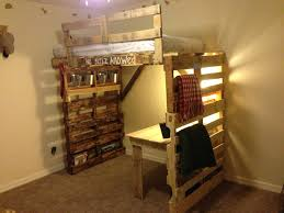 pallet bunk type bed and desk i like the design but do not like