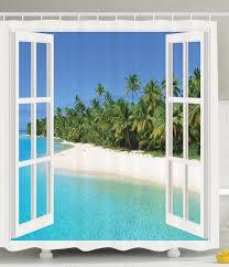 Primitive Decorated Bathroom Pictures by Amazon Com Ocean Decor Gazebo Curtains Paradise Island Palm Tree