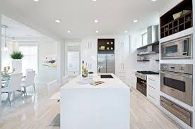 Modern Kitchen White Appliances Pleasing Ceiling Lights Paired With Feat