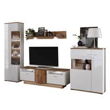 ideal möbel magic wohnkombination 28 mit wandboard lowboard und zwei vitrinen korpus weiß front weiß hochglanz absetzung wotan eiche nachbildung