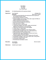 List Waitress Duties Resume Waiter Cv Example Bartender Cover Letter No Experience Sample Inspirational