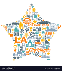 Los Angeles California Icons Symbols Landmarks Vector Image