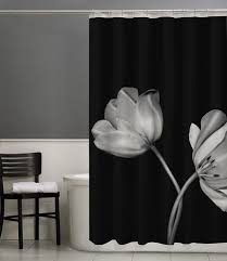 Black And White Flower Shower Curtain by Black Shower Curtain With White Flower Best Curtains Design 2016