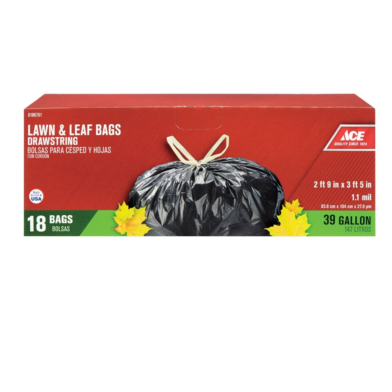 Ace Lawn & Leaf Bags - 147l, 18 Pack