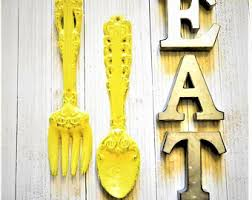 Kitchen Wall Decor Art EAT Letters ForkSpoon