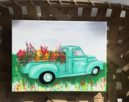 Vinatge Farm Flower Truck Painting Fresh Vintage Old And Flowers