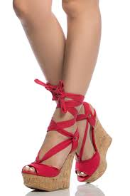 red woven wrap around cork wedges cicihot wedges shoes store