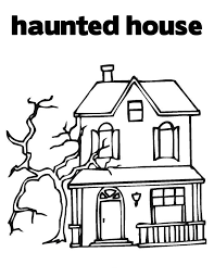 Haunted House Kids Halloween Coloring Pages Printable For Preschoolers