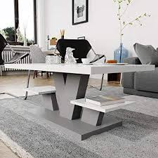 couchtisch für wohnzimmer weiß hochglanz grau mit zwei regalfächern stilvoller moderner weißer mitteltisch mit hochglanzplatte für und kaffee