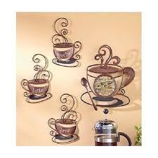 Coffee Wall Art Set Metal Mugs Clock Decor Cafe House Kitchen Bistro Latte Java