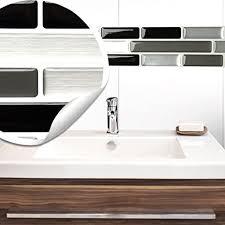 wandora 5 stück 27 9 x 4 3 cm fliesenaufkleber schwarz grau silber ziegel i selbstklebende 3d fliesen küche bad fliesendekor fliesenfolie