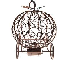 Qvc Christmas Tree Hugger by Plow And Hearth Illuminated Metal Pumpkin Carriage With Timer