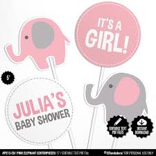 EDITABLE Círculos Elefante Rosa Centros De Mesa Baby Shower Etsy