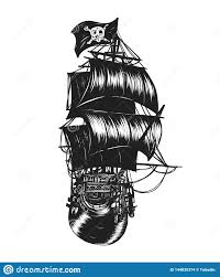 100 Pirate Ship Design Vector Tattoo By Hand Drawing Stock Vector