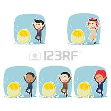 businessman happy got his coin hatched from egg different race set Illustration