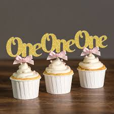 Baby Girl Boy 1st Happy Birthday Decoration e Cupcake Toppers Picks Gold Pink Kids
