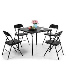 LAZYMOON Black Folding Card Table And Chair Set 5-Piece 7 Best Folding Card Tables 2017 Chair Long Table And Padded Chairs Cosco 5 Piece Set 5pc Xl Series And Ultra Thick Black White Plastic Large Black Card Table Sim Smatch Wikipedia 1950s Four Kids Colorful Vintage Metal Of 2 Brown Creme Vinyl Retro Mid Century Extra Seating Kitchen Ding Fniture Charming Pretty Wood