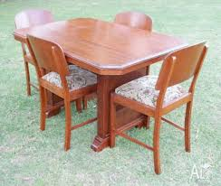 Art Deco SILKY OAK Dining Table 4 Chairs