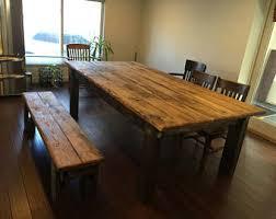 RUSTIC FARMHOUSE TABLE Set Large Farm House Cabin 8 Foot Kitchen Dining Table W Bench Burnt Golden Oak Dark Walnut Reclaimed Wood Unique