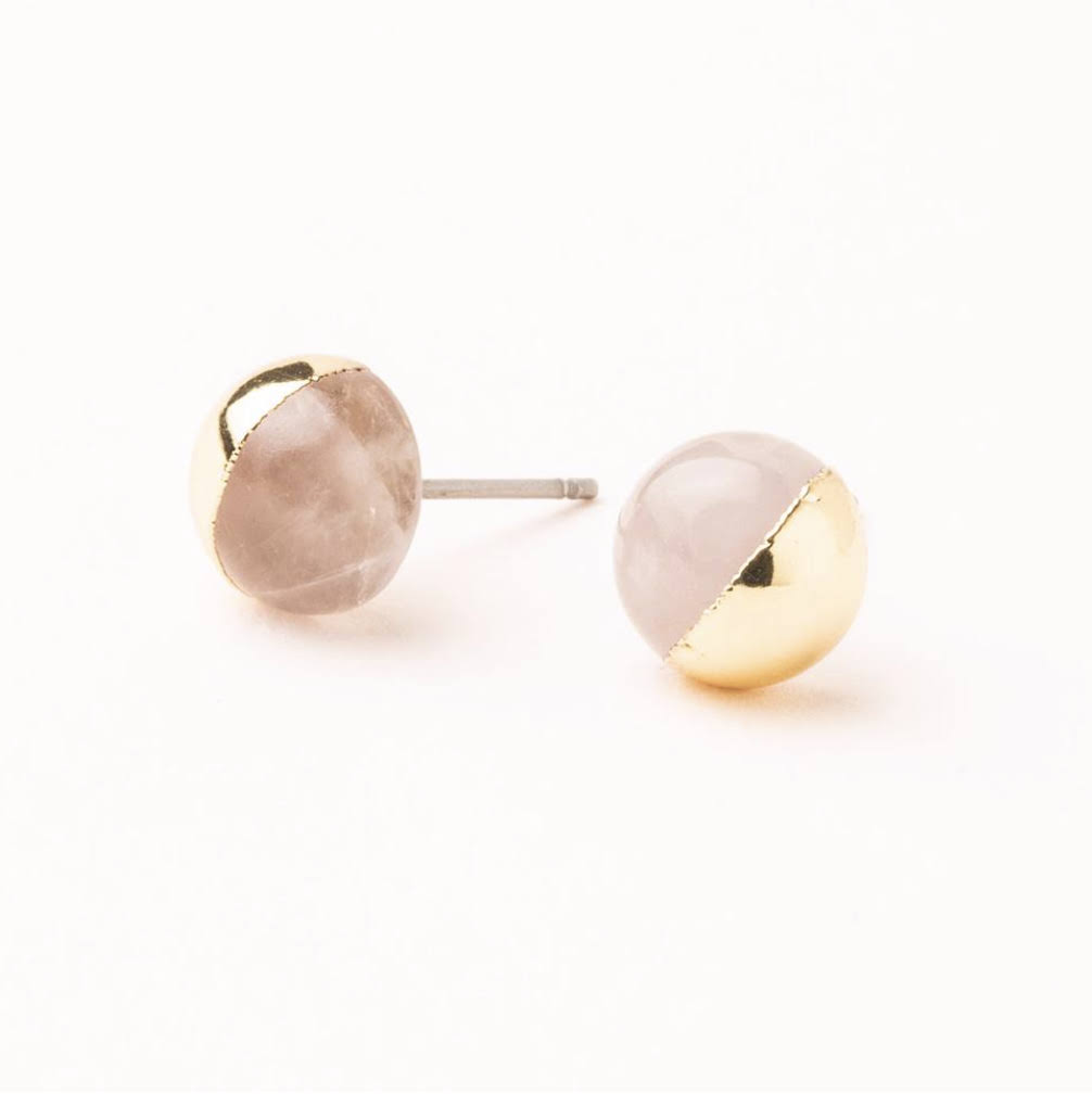 Scout Stone Dipped Stud Earrings - Rose Quartz & Gold
