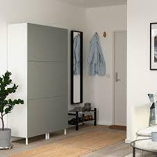 platsa kleiderschrank mit 6 türen weiß klubbukt graugrün