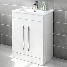 600 mm White Gloss Vanity Sink Unit Ceramic Basin Bathroom Storage