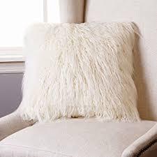 Amazon Best Home Fashion Ivory Mongolian Lamb Faux Fur Pillow