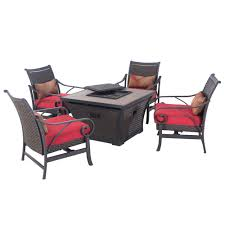 Patio Furniture Conversation Sets With Fire Pit by Sunjoy Cald 5 Piece Patio Fire Pit Conversation Set With Red