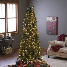 Pre Lit Slim Christmas Tree Led by Finley Home 10 Ft Classic Pine Clear Pre Lit Slim Christmas Tree