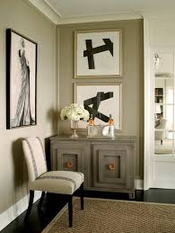 Taupe Dining Room Gray Cabinet Black Abstract Art