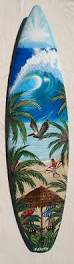 Decorative Surfboard Wall Art by Upright Beach Umbrella Scene Hand Painted Surfboard Mural By B
