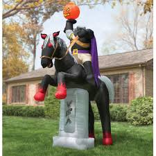 Halloween Airblown Inflatable Lawn Decorations by The 12 U0027 Inflatable Headless Horseman Hammacher Schlemmer