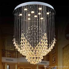 großhandel moderne led spirale kugel regen tropfen k9 kristall spektakuläre deckenleuchte kronleuchter für wohnzimmer hotel flur selectedlighting