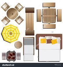 Outdoor Furniture Top View Set 15 For Landscape Design Vector Illustration