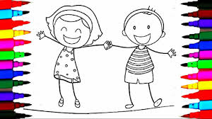 School Girl And Boy Coloring Pages L Happy Kids Drawing Videos To Learn Rainbow Colors