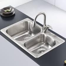 kraus stainless steel 33 x 22 basin drop in kitchen sink