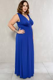 royal blue plunging neckline sleeveless plus size formal dress