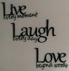 Live Love Laugh Wall Decor Metal Art Black