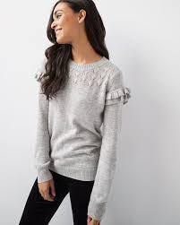 Ruffle Sleeve Cashmere Like Sweater With Lurex