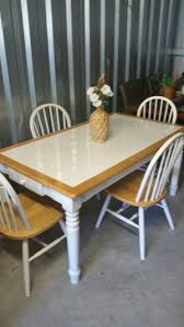 FARMHOUSE White Tile Wood Kitchen Dining Table Chair Set For Sale In