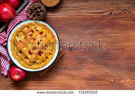 Making Rustic American Style Apple Pie Baked Top View