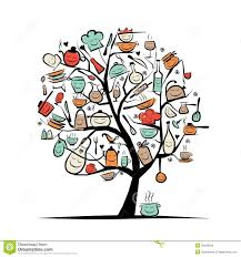 arbre d avec des ustensiles de cuisine dessin de croquis pour
